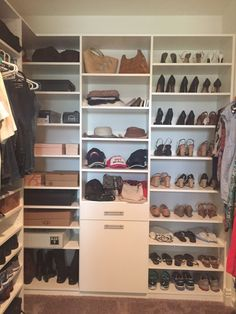 Merveilleux Walk In Master Closet With Double Hang And Hidden Hamper. Plus Top To  Bottom Shoe Shelves For All Your Shoes Ladies!