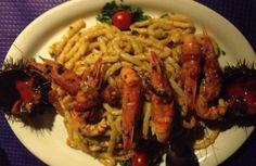 Spaghetti ricci e gamberoni