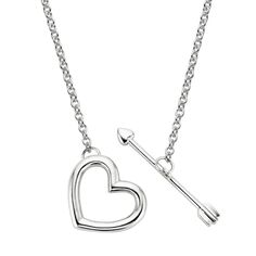 This chic sterling silver lariat features an interlocking heart and arrow.