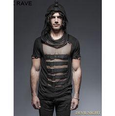 Black Gothic Hooded Mesh T Shirt For Men