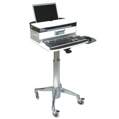 Laptop Cart With Medical Drawer Up To 18 Inches Of Height Adjustment Hospital Grade