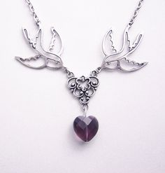 Swallow heart necklace Romantic Jewelry Birds romantic necklace Purple Crystal Heart Necklace Rockabilly Jewelry €14