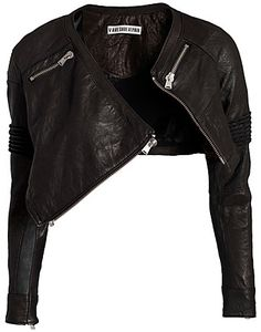 Black leather zip bolero jacket