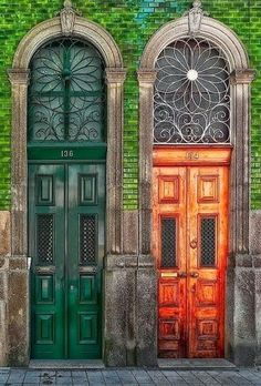 Green Door, orange door, Paris ~ The overdoor Transome windows are Beautiful.
