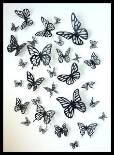 3D Wall Butterflies - 20 Black Different Butterfly for your Nursery, Home Decor on Etsy, $37.78 AUD