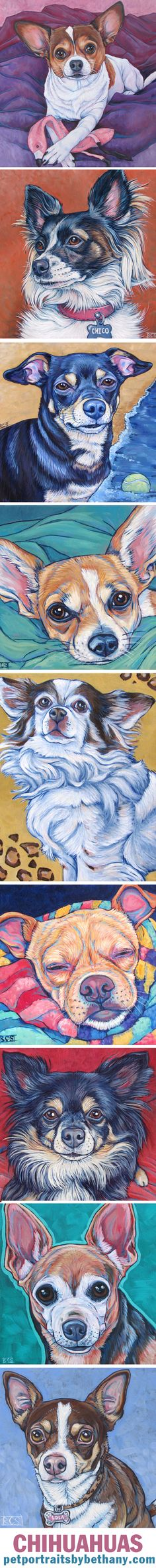 Chihuahua Dogs Custom Pet Portrait Paintings in Acrylic Paint on Canvas from Pets