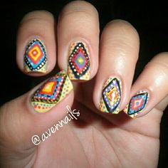 Tribal fusion nail art design