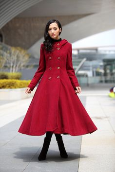 Wine Red Coat Big Sweep Double breasted Hoodie Wool Coat Winter Coat Long Jacket Tunic / Fast Shipping - NC500