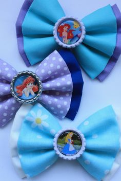 Little Mermaid and Alice and Wonderland Disney Hair Bows