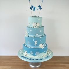 Under the Sea Ombré Tiered Cake