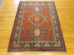 Persian Oriental Rug, 4' 6 x 6' 2 Orange Meshkin