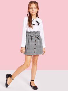 Girls Paperbag Waist Button Up Plaid Skirt With Belt - Cute Outfits Kids Outfits Girls, Cute Girl Outfits, Girls Fashion Clothes, Tween Fashion, Cute Outfits For Kids, Teen Fashion Outfits, Little Girl Dresses, Girls Dresses, Cute Clothes For Kids