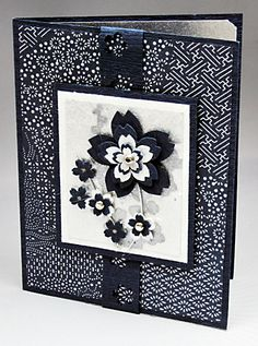 hand crafted ccard ... black and white ... Japanese printed papers ... layered sakuras .... lovely ...
