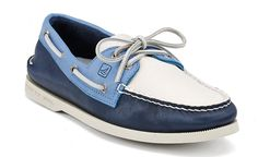 Men's Authentic Original Boat Shoe - Navy/Seaside/White Leather - Sperry Top Sider $80