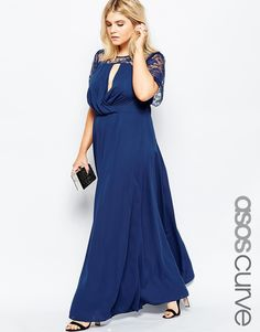 Image 1 ofASOS CURVE Kate Lace Maxi Dress with Flutter Sleeves