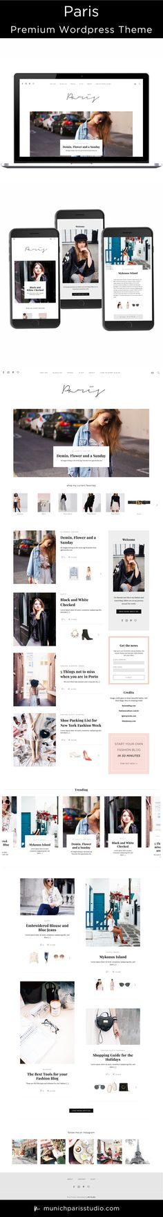 Paris is a Premium Feminine WordPress Theme for the Fashion and Lifestyle Bloggers. Clean, Modern and Versatile Website Design with perfect Shopping Widget Solution. Monetize your Content through the MPS Shopping Plugin. Fully Responsive on all Devices. Customizable Homepage Layout, Single Post Layout, Fonts and Colours. Visit the Demo Site to see full features. MunichParis Studio.