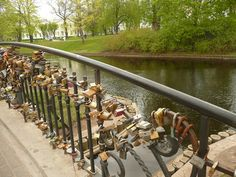 Riga Lock Bridge. When you get married, you engrave your initials on a lock and place it here!
