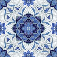 Aurelia, a handmade mosaic shown in Lapis Lazuli, Iolite, Mica, Absolute White and Blue Spinel jewel glass, is part of the Delft Collection by Sara Baldwin for New Ravenna.