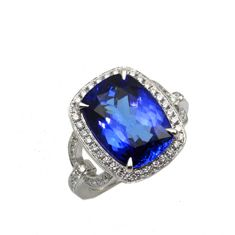 "Frederic Sage ~ White Gold ""Roma"" Tanzanite Ring ~ Stop by our store in Dunkirk to see it in person!    Ask us for style number: R7305-TZW"