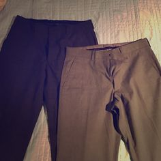 Dress Slacks (men's) Bundle of two dress slacks both size 30/30. My husband wore them once before realizing they are too small. One is a dark charcoal gray and the other a medium metal gray. Both is excellent condition. Express Pants