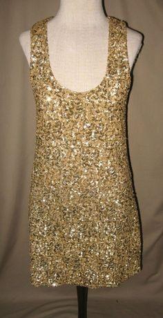 Alice Olivia Loves Scoop Metallic Gold Sequin Dress SZ Medium | eBay