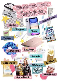 What to pack in your carry on bag! #whats #in #my #backpack #vsco Going on a trip? A backpack is the perfect carry on bag, and this is what you need to fill it with! #carryon #vsco #vscovibes #vscoedits #vscogirlstarterpack #travel #carryon #traveltips Airplane Essentials, Backpack Essentials, Travel Bag Essentials, Road Trip Essentials, School Bag Essentials, Holiday Essentials, Travel Packing Checklist, Road Trip Packing List, Vacation Packing