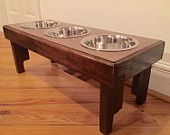 "Reclaimed rustic pallet furniture dog bowl stand walnut finish. 30""l x 12"" w x 11"" t"