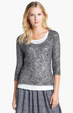 Eileen Fisher Scoop Neck Shimmer Sweater (Regular & Petite) available at #Nordstrom I like the whole outfit