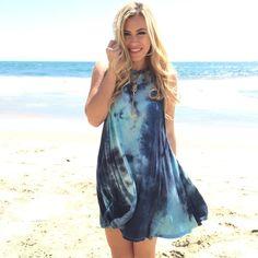 Blue tie dye tee shirt material shift dress fd87c3c82