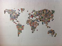 Collected stamps from around the world to make THE WORLD!!
