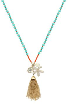 Olivia Welles - Gold Plated Bead Charm & Tassel Necklace