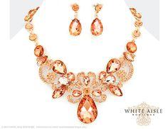 Rose Gold Bridal Statement Necklace Set, Wedding Jewelry Set, Vintage Inspired Necklace, Rhinestone Necklace, Bridal Necklace