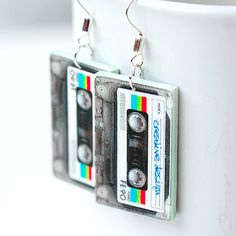 Retro cassette tape earrings. A mix tape for your ears! $15 #handmade #jewelry