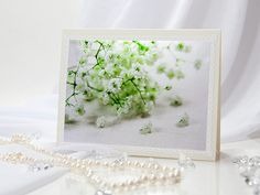 Baby breath blank greeting note card tender white flowers photography green light background ivory envelope, rusteam, tbteam, oht