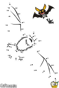 Draw your own bat connecting the dots. #bat #activitypages #connectthedots