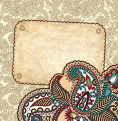 XOO Plate :: Retro Floral Paisley Vector Background - Detailed retro paisley floral card vector background.