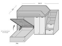 L-shape bunk bed, side steps, storage bed,