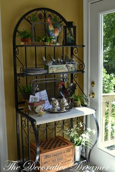 bakers rack decorated | The Decorative Dreamer: A New Kitchen Vignette