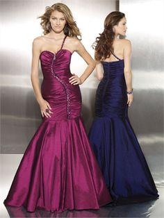 One Shoulder Sheath Stretch Taffeta with Zipper Detail Prom Dress PD10505