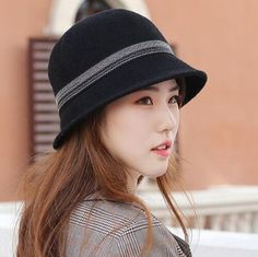 7f6ed6acda0 Pom pom bowler hat for women color block wool bowler hats