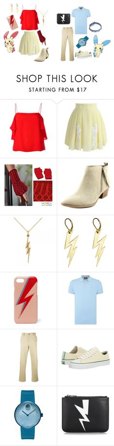 """""""Electro Twins: Plusle and Minun!"""" by brencrossed ❤ liked on Polyvore featuring Fendi, Chicwish, NOVICA, Circus by Sam Edelman, Allurez, Zara Taylor, The Case Factory, GANT, Golden Goose and PF Flyers"""