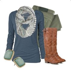 Business casual work outfit: blue long sleeved top, olive skinnies, brown boots. Casual Friday.