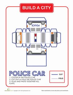 Here is a fun project for you and your child to share! Build an entire city with this series. Here is a police car, to fight crime in your paper city.