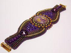 Bead Embroidery Bracelet OOAK Seed bead bracelet by Vicus