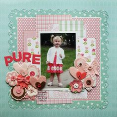 This is an adorable one photo scrapbook page layout using multiple embellishments and scrap paper.