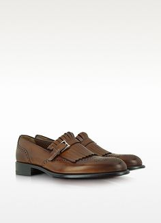 A.Testoni Brown Wingtip Leather Loafer