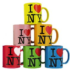 I Love NY Ceramic Color Mug     Displaying the classic ILNY logo on both sides, this soon to be classic I Love New York mug is a perfect gift for the NYC aficionado in your life. These popular New York mugs are the standard size at 11oz, and are now available in your favorite color!     Our Classic I Heart NY mugs make great New York gifts.    Available colors:  - Yellow  - Pink  - Orange  - Red  - Green  - Blue  - Purple