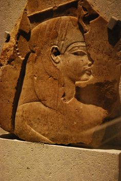 Relief of queen Tiye. Fragment of a relief, representing queen Tiye. 18th Dynasty, from the mortuary temple of Amenhotep III at Thebes. Neues Museum, Berlin.