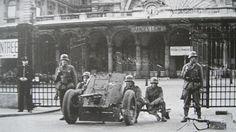 German troops guarding a railway station in Paris with a 3.7 Pak antitank gun.