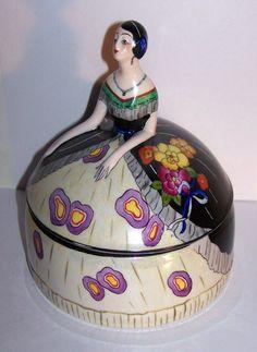 Noritake Art Deco Lustre Lady Figural Powder Box Dresser Jar Lusterware RARE | eBay
